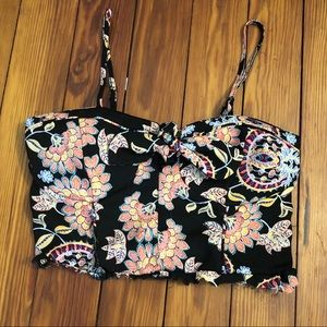 Floral crop top with bow